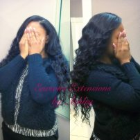 Full Weave with Minimal Leave Out Installed by Ashley